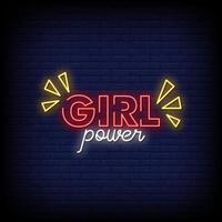 flicka kraft neon skyltar stil text vektor