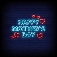 glücklicher Muttertag Leuchtreklame Stil Textvektor vektor