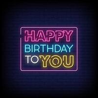 Grattis på födelsedagen till dig neonskyltar stil text vektor