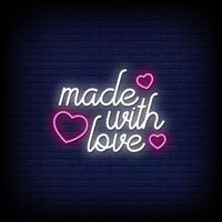 gjord med kärlek neonskyltar stil text vektor