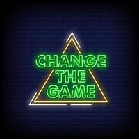 ändra spelet neonskyltar stil text vektor