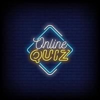Online-Quiz Leuchtreklamen Stil Text Vektor