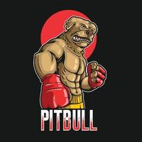 Pitbull Hund Boxen Sport Illustration vektor