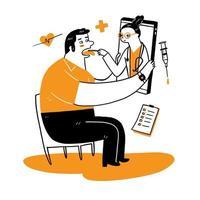 Patient trifft einen professionellen Arzt online vektor