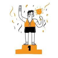 junger Mann Athlet, der mit Trophäe auf dem Podium als Sieger aufsteht vektor
