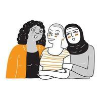 eine Gruppe von Frauen, die sich in ethnischer Zugehörigkeit und Hautfarbe unterscheiden. vektor