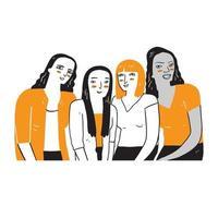 en grupp kvinnor som är olika i etnicitet och hudfärg. vektor