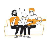 Beste Freunde oder schwule Paare singen und spielen Gitarre vektor