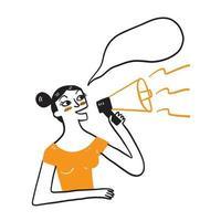 lustige junge Frau mit Megaphon isolierte aufrichtige Emotionen Lebensstilkonzept. vektor