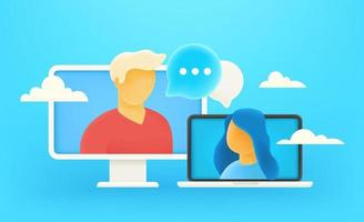 Online-Dialog über das Internet. Online-Chat-Konzept vektor