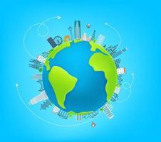 Weltreiseillustration mit berühmten Weltsehenswürdigkeiten. Vektor Banner