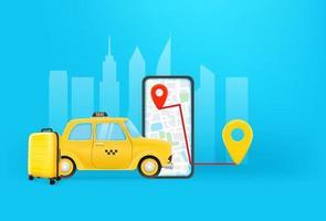 Taxikonzept buchen. mobile Anwendung, um ein Taxi zu bekommen vektor