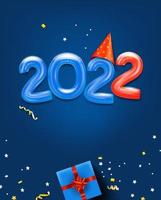 lyckligt nytt 2022 gratulationskort med luftballonger vektor