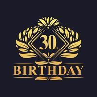 30 Jahre Geburtstag Logo, Luxus golden 30. Geburtstagsfeier. vektor