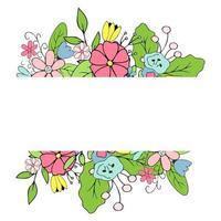Blumenrahmen aus handgezeichneten Blumen und Blättern. niedliche Vektorillustration im Gekritzelstil vektor
