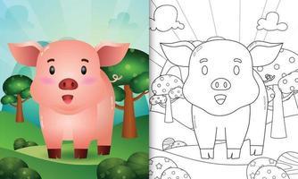 målarbok för barn med en söt gris karaktär illustration vektor