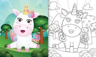 målarbok för barn med en söt enhörningskaraktärsillustration vektor