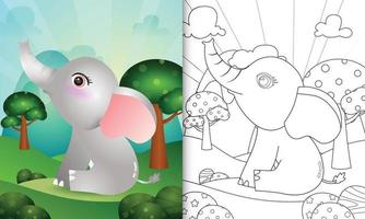 målarbok för barn med en söt elefantkaraktärsillustration vektor