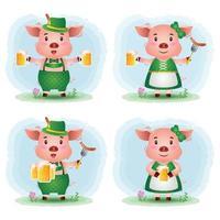 süßes Schweinepaar mit traditioneller Oktoberfestkleidung vektor
