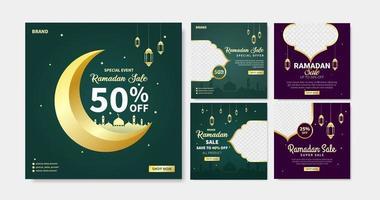 Satz von Ramadan Verkauf Social Media Post Vorlage. Web-Bannerwerbung für Grußkarte, Gutschein, islamisches Ereignis. vektor