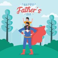glad fars dag, far och son spelar superhjälte vektor