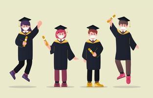 Abschluss Mädchen und Jungen Zeichensatz vektor