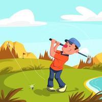 Mann, der Golf auf Golfplatz spielt vektor