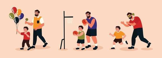 Vater und Sohn machen verschiedene Aktivitäten vektor