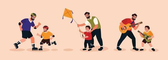 Vater- und Sohncharaktere spielen zusammen und feiern den Vatertag vektor