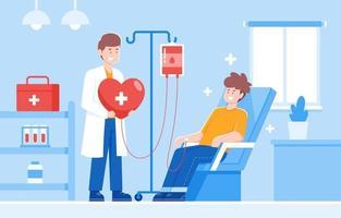 Blutspende eines medizinischen Offiziers und einer freiwilligen Entnahme vektor