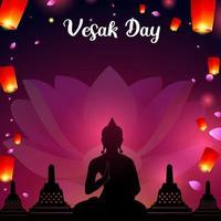 Vesak Tag mit dem Himmel mit Laternen geschmückt vektor