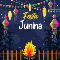 festa junina firande är dekorerade med lyktor vektor