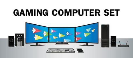 gaming stationär datoruppsättning med flera skärmar vektor