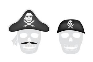 Piratenhut auf einem Piratenschädelkopf vektor