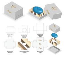 starre Box für abgerundete Seife Modell mit Dieline vektor
