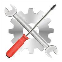 skruvmejselnyckel och logotyp för växelreparation vektor