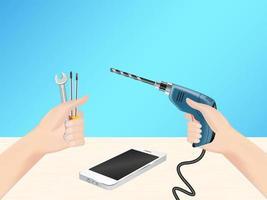 Hand mit Reparaturwerkzeug für selbstfixierendes Smartphone vektor