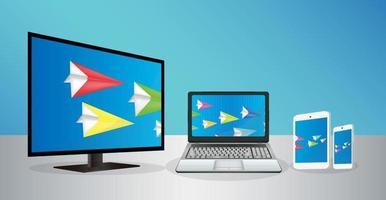 smart tv bärbar dator smartphone och surfplatta överföra data vektor