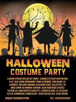 halloween barn kostym parti framför kyrkogården affisch vektor