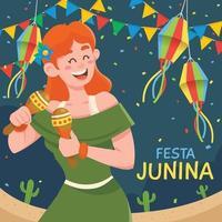 festa junina mit frau, die maracas auf festival spielt vektor