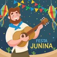 festa junina mit mann spielen gitarre auf dem festival vektor