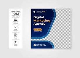 digitala affärer marknadsföring sociala medier post eller fyrkantig webb banner vektor
