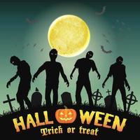 halloween silhuett zombie på en nattkyrkogård vektor