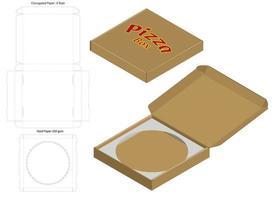 Pizzaschachtel Wellpappe gestanzt mit Mock-up vektor