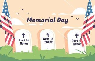 Gedenktag Hintergrund mit USA Gräbern vektor