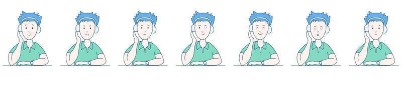Mann mit Kopfhörer eingestellt vektor