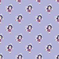 liten flicka skridskoåkning sömlösa mönster vektor