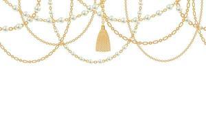 bakgrund med gyllene metallhalsband. tofs, pärlor och kedjor. på vitt. vektor illustration