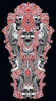 gotisk skylt med skalle och vingar, t-shirts med grunge vintage design vektor