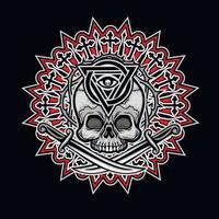 gotisches Zeichen mit Schädel und Auge der Vorsehung, Grunge Vintage Design vektor